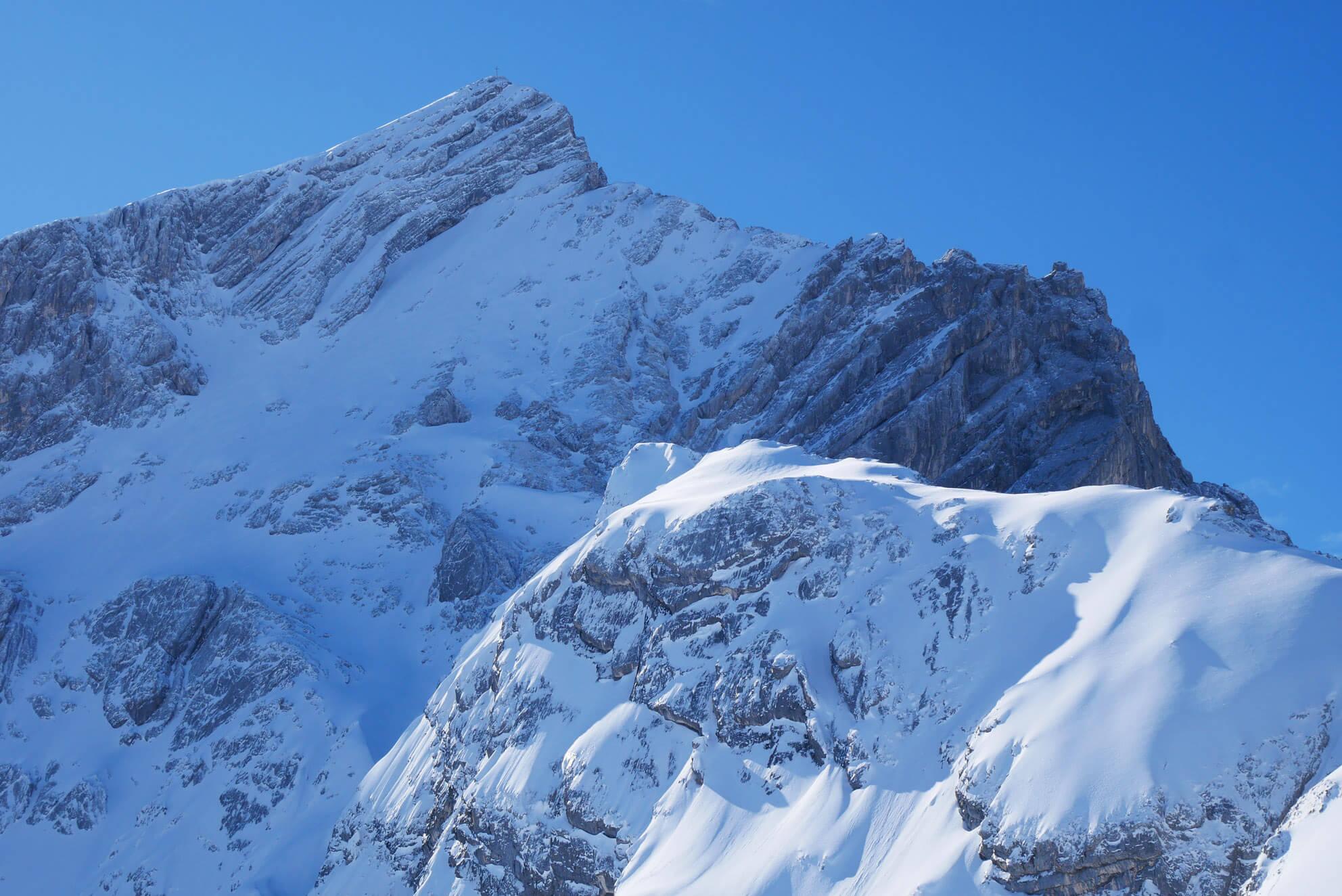 Alpspitze Schnee Sonne